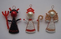 Beaded Christmas Ornaments, Christmas Angels, Christmas Crafts, Christmas Decorations, Pony Bead Patterns, Beading Patterns, Bead Crafts, Diy And Crafts, Beaded Angels