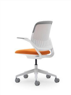 buy lexmod attainment office chair with orange mesh back and