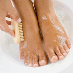 Help for flaky feet:Listerine: the BEST way to get your feet ready for summer. Sounds crazy but it works! Mix 1/4c Listerine (get the gold one), 1/4c vinegar and 1/2c of warm water. Soak feet for 10 minutes and when you take them out the dead skin will practically wipe