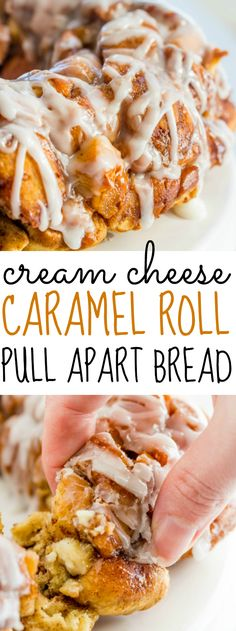 Delicious cinnamon rolls are cut up and combined with cream cheese and a brown sugar glaze to make this Cream Cheese Caramel Roll Pull Apart Bread a breakfast favorite.