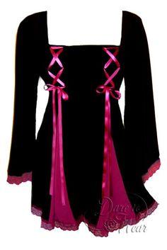Dare To Wear Victorian Gothic Women's Gemini Princess Corset Top Black/Fuchsia