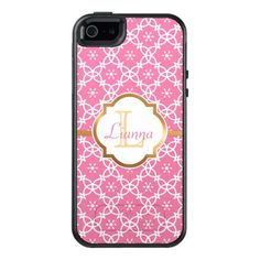 Pink Pattern, Faux Gold Foil, Custom OtterBox iPhone 5/5s/SE Case