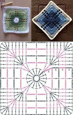 Make and sell: Mesh yarn bag with dot chart ⋆ Facing The Sea Granny Square Crochet Pattern, Crochet Diagram, Crochet Chart, Crochet Squares, Diy Crochet, Motif Mandala Crochet, Crochet Motif Patterns, Crochet Blocks, Crochet Designs