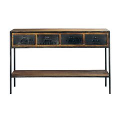 Table console indus en métal et manguier massif noire L 130 cm