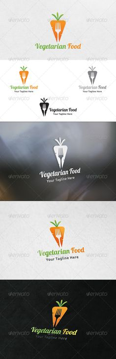 Vegetarian Food - Logo Template - I love the negative space usage. It looks awesome in color, and black and white.
