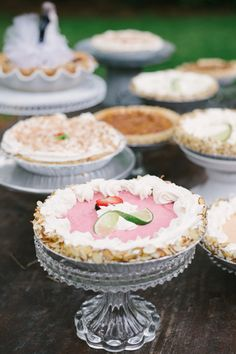 homemade pies on cut glass stands | Aaron and Jillian #wedding