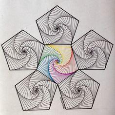 Hexagon                                                       … Zentangle Drawings, Zentangle Patterns, Art Drawings, Zentangles, Spirograph Art, Arte Linear, String Art Patterns, Math Art, Geometry Art