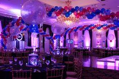 Blue & Pink Balloon Wrap with Lights - BAT MITZVAHS