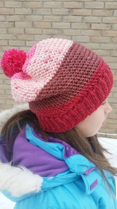 Slouchy Hat, Winter Day, Pick One, Birthday Gifts, Crochet Hats, Teen, Stripes, Homemade, Wool
