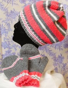Cloche Pink Gray White Stripe Hat and Mitten by JustAMomFromNH www.justamomfromnh.etsy.com Custom orders welcome!