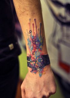 Awesome wrist watch tattoo