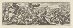 Simon Frisius | Veldslag, Simon Frisius, 1595 - 1628 | Vooraan valt een cavalerist een gevallen ruiter aan. Op de achtergrond een veldslag.