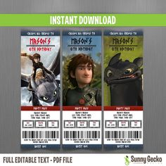 how to train your dragon birthday ticket invitations this is an editable pdf file that