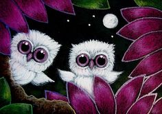 Detail Image for art TINY ALBINO OWL IN MY GARDEN   TWINS