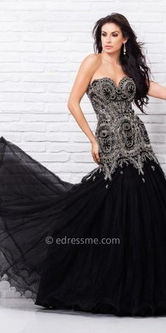 Tony Bowls Le Gala Ornate Scalloped Prom Gown