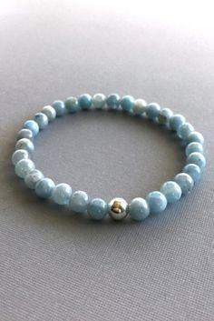 Genuine Aquamarine Bracelet, March Birthstone Jewelry, Women's / Men's Blue Stone Bracelet