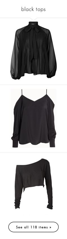 """""""black tops"""" by rainthunderari ❤ liked on Polyvore featuring tops, blouses, ruffle neck top, ruffle neck blouse, chiffon blouse, pleated blouse, pleated top, shirts, long sleeves and blusas"""