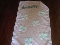 Fleece Baby Blanket: Pink Cream Butterflies