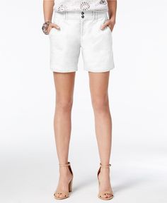 INC International Concepts Linen Curvy-Fit Shorts, Only at Macy's - Shorts - Women - Macy's