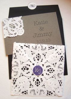 LOVE these invites. Purple, black, gray, and LACE!!! LOVE!!!