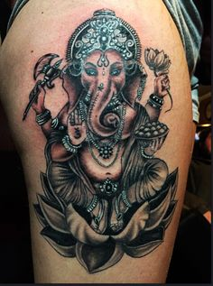 Ganesh tattoo by Audrey Mello