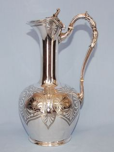 Mid-19th Century English Silverplate Claret Jug by James Dixon & Sons