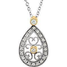 "14K Two-Tone 1/6 ct tw Diamond 16"" Necklace | Stuller.com"