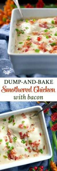 Dump-an-Bake Smothered Chicken with Bacon on MyRecipeMagic.com  Just 5 minutes of prep, 5 ingredients, and 1 dish for this easy dinner: Dump-and-Bake Smothered Chicken with Bacon!