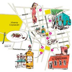 Map of attractions in the Coyoacan neighborhood in Mexico City including Frida Kahlo's house, Casa Azul.