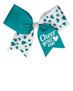 "The Glitter Hearts Performance Hair Bow is half colored grosgrain with white ""Cheer your (heart) out"" print, half white grosgrain with matching colored glitter hearts."