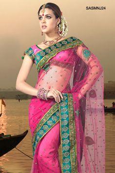 $176 Impressive Pink Net Saree From Cbazaar