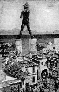 The Colossus of Rhodes was one Helium statue (sun god in Greek mythology) built between 292 BC and 280 Greek aCilha of Rhodes in the Aegean, Helium, place protective. At 30 meters high, all of bronze, carved in 292 BC by the sculptor Chares, On the right hand of the statue was a beacon that guided the ships at night. It was a statue so imposing that a normal stature man could not hold his thumb, to celebrate the withdrawal of troops from Macedonian king Demetrius, Antigonus general, who…
