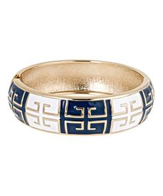 Love this Navy & White Grecian Hinge Bangle by Fornash on #zulily! #zulilyfinds