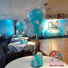 Tiffany theme fantasy cloud double bubble balloon centerpiece. #partywithballoons