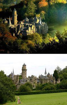 "The Löwenburg (""Lion's castle""), located picturesquely in the Bergpark (""mountain park"") Wilhelmshöhe"