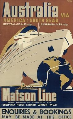 Matson Line - Australia via America & south seas - (Ewart Melbourne Brindle) -