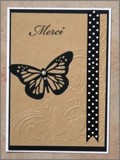 Carte kraft avec papillon Card Making Tutorials, Butterfly Cards, Card Envelopes, Stamping Up, Stampin Up Cards, Craft, Birthday Cards, Diy, Snails