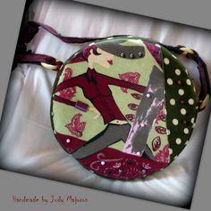 Handmade by Judy Majoros - Green round polka dots bag. Shoulder bag. Recycled bag