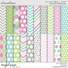 Soft Pastel Basics Digital Scrapbooking Paper - Green Teal Pink Gray Background Papers - Chevron, Polka Dots, Honeycomb - INSTANT DOWNLOAD