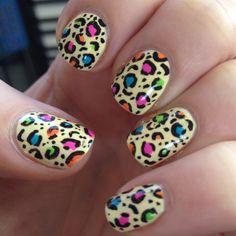 Today's nail art action... Lemon yellow multi-leopard :)