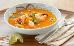 Savor this Thai-inspired soup, with a base of creamy coconut milk, rich butternut squash, a hint of spicy peppers and succulent shrimp. For a shortcut, look for peeled and cubed butternut squash in the produce department. Serve over rice or noodles if you like.