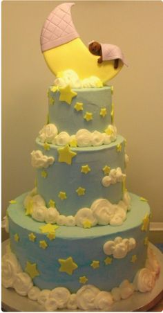 baby shower cakes   Moon + Stars Baby Shower Cake   The Yummy Year Project
