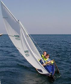 klepper kayak under sail with no stabilizer...better not have big wind ?!