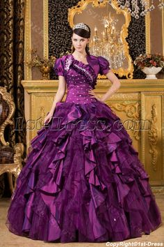 1st-dress.com Offers High Quality Purple Luxurious One Shoulder 2014 Quince Gown with Match Jacket,Priced At Only US$235.00 (Free Shipping)