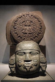Goddess Coyolxauhqui  with the sun stone at her back. National Museum of Anthropology Mexico City mexicas