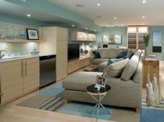 candice olson basement renovation. Beautiful greys, blues and blonde wood