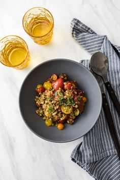 Farro Salad with fresh grape tomatoes and an easy green haris