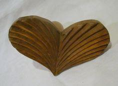 Antique Wood Carved Heart Wooden Vintage Butter Press Mold Primitive Stamp | eBay sold 130.00