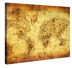 World map antique wood framed graphic art print poster print retro world map premium canvas art print 40x30 inch large wall art deco gumiabroncs Image collections