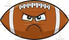 An Angry Football :  A brown prolate spheroid with white stitches at the top and two ribs near the pointy edges black brows furrowed as his lips frown in anger and disappointment  The post An Angry Football appeared first on VectorToons.com.